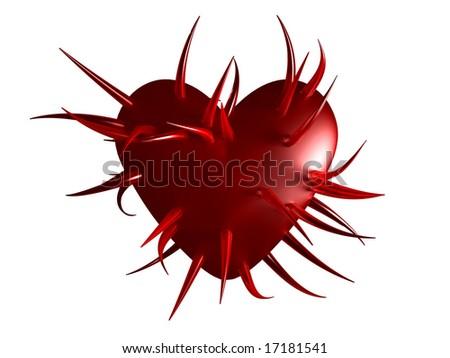 spiky heart - stock photo