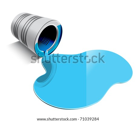 Spilled Blue Paint - stock photo