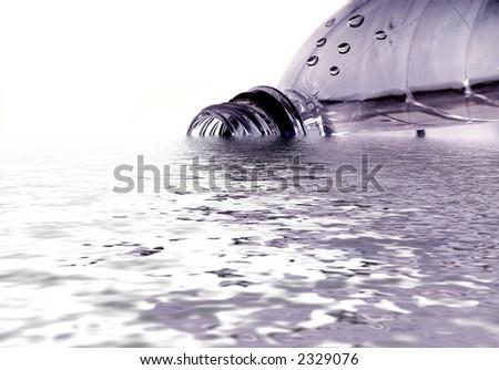 Spilled Bottle of Fresh Drinking Water on White - stock photo