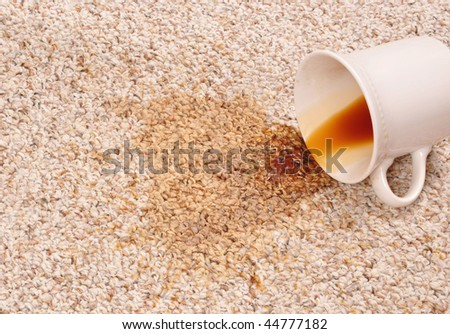 Spilled coffee on the carpet