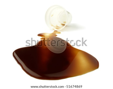 Spilled cup of coffee - stock photo