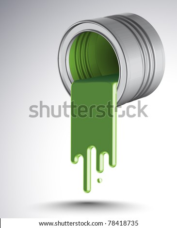 Spilled Green Paint - stock photo