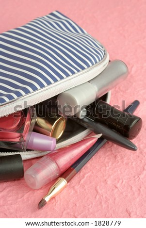 spilled makeup from case - stock photo