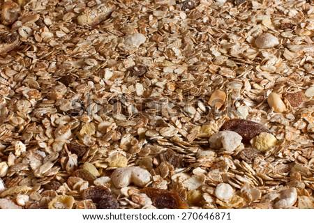 Spilled muesli, background - stock photo