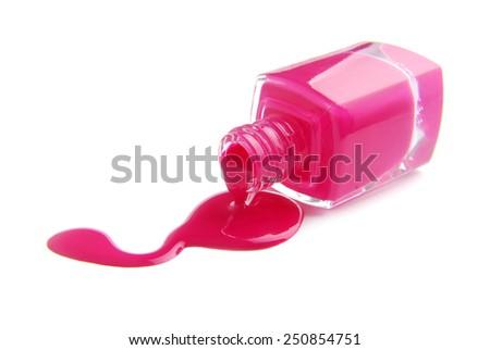 spilled nail polish enamel isolated on white - stock photo