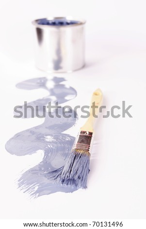 Spilled paint, colorful composition, paint cans - stock photo