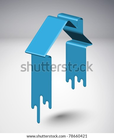 Spilled Paint - House - stock photo