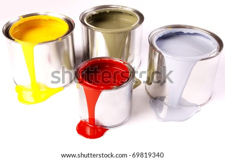 Spilled paint, yellow, blue on white background - stock photo