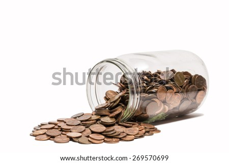Spilled Penny Jar - stock photo