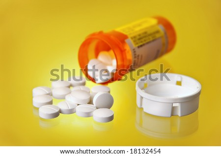 Spilled Prescription Medication w/ Orange Pill Bottle and cap on solid yellow gradient background
