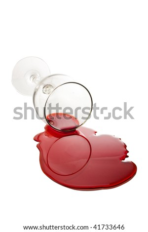 Spilled Wine Glass - stock photo