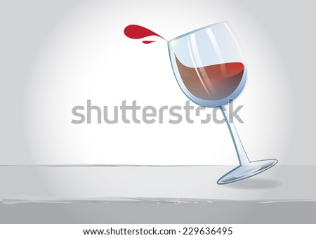 Spilling wine glass