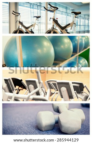 Spin bikes in fitness studio against exercise balls on rack in studio - stock photo