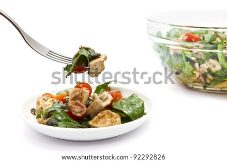 Spinach and chicken salad over white background - stock photo
