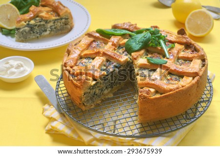Spinach and Ricotta Pie. Selective Focus - stock photo