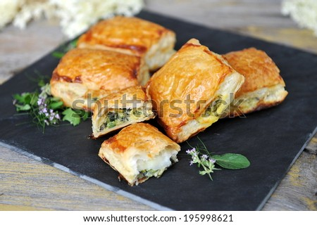 Spinach and vegetable pastry - Greek food - stock photo