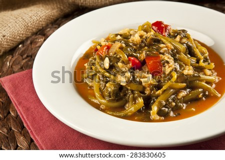 spinach dish turkish traditional ramadan food - stock photo
