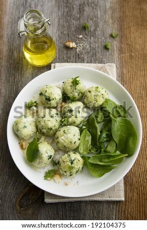 Spinach dumplings - stock photo