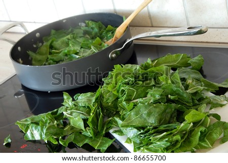 spinach on stove - stock photo