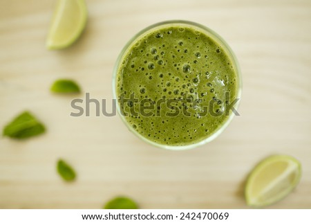 Spinach smoothie. Healthy fresh cocktail  - stock photo