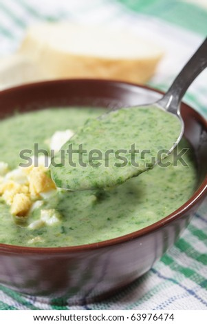 Spinach soup with boiled egg