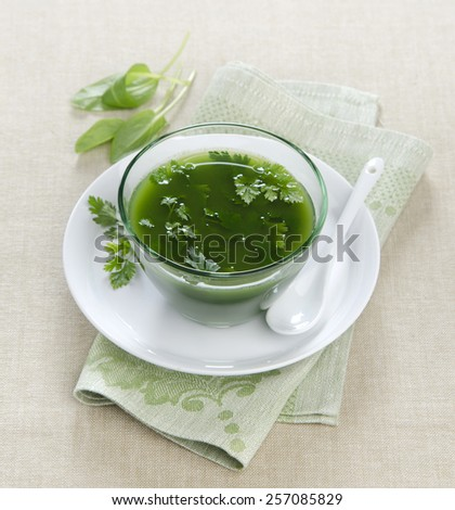 spinach soup with parsley greens in a glass bowl on a sand-colored tablecloths - stock photo