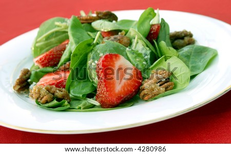 Spinach Strawberry Salad - stock photo