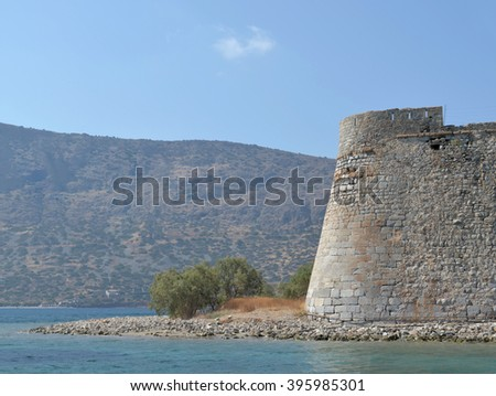 Spinalonga Fortress view from the sea. - stock photo