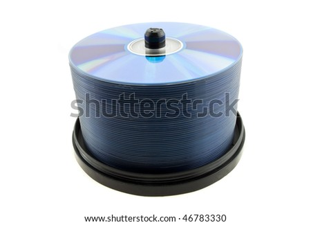 Spindle computer disks isolated on a white background - stock photo