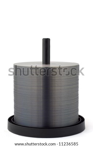 Spindle with a lot of DVD's (or CD's) - stock photo