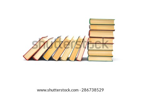Spine of the color books, books are isolated on white background - stock photo