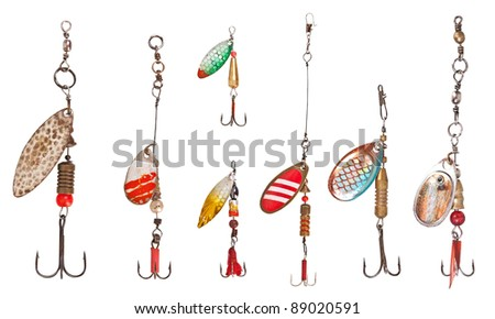 spinner lures isolated on white - stock photo