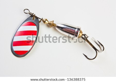 spinner with a triple hook for fishing - stock photo