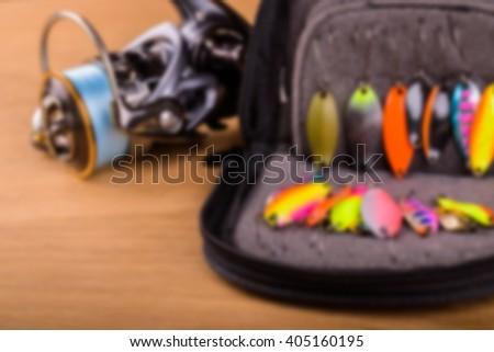 Spinning bait, blurred background - stock photo