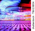 spinning carousel lights - stock photo