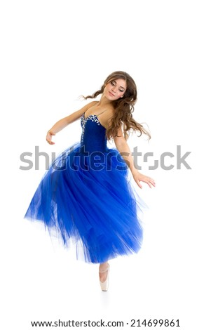 spinning dancer girl isolated on white