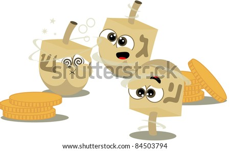 Spinning fun dreidels ready for hannukah - stock photo