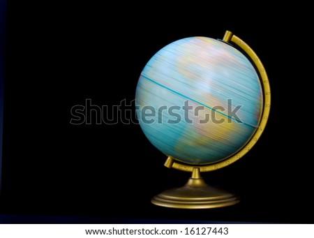 spinning globe isolated on black - stock photo