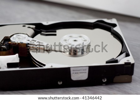 spinning hard drive disk amd head