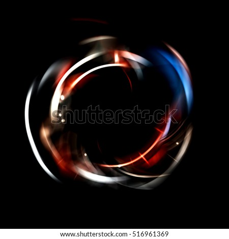 Spinning Light Particles. Title Presentation. Magic Effect. Isolated on Black Background.