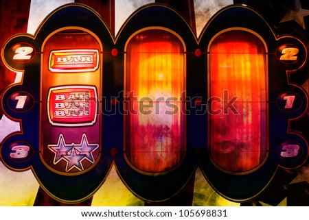 spinning nice colorful slot machine in a casino - stock photo