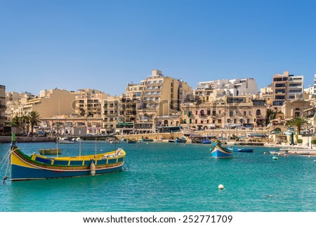 Spinola Bay in St Julians Valletta - stock photo