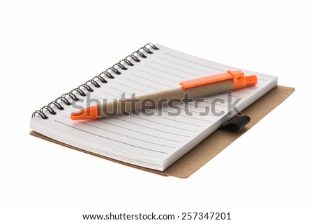 spiral book and pen islated on white background. - stock photo