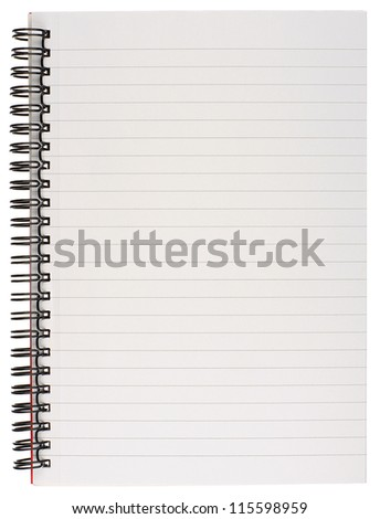 Spiral Bound Lined Blank Notebook Page Isolated on White