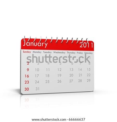 Spiral calendar January 2011 - stock photo