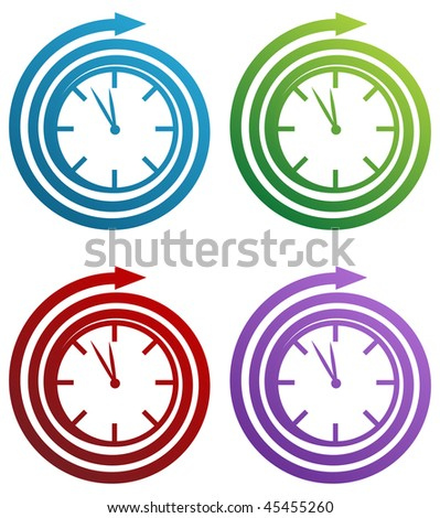 Spiral clock icon set isolated on a white background. - stock photo