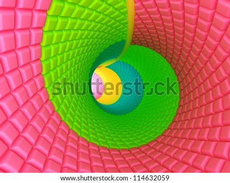 Spiral colorful tunnel of candy in the children's cartoon style - stock photo