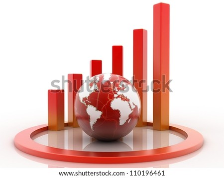 Spiral 3D graph and world globe - stock photo