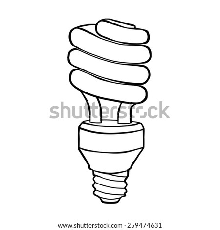 Spiral energy saving electric discharge lamp. Contour drawing. - stock photo