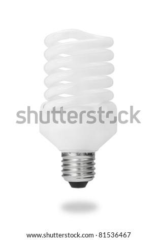 spiral energy saving fluorescent light bulb isolated on white - stock photo